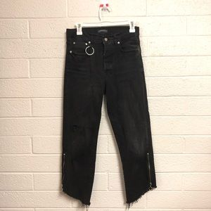 Zara Black Distressed Angled Cut Off Jeans